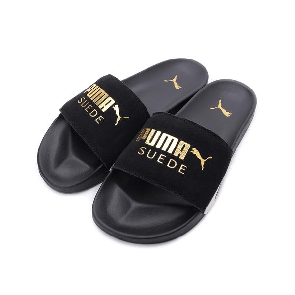 PUMA Leadcat FTR Suede Classic 反毛皮運動拖鞋 黑金 372277-01 男鞋