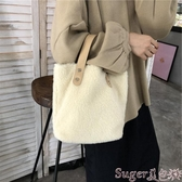 手提包包包女2020新款秋冬ins羊羔毛少女時尚百搭簡約大容量側背手提包 交換禮物