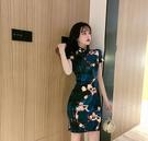 旗袍洋裝 復古中國風氣質優雅修身改良版旗袍顯瘦新款性感花色短款連身裙女