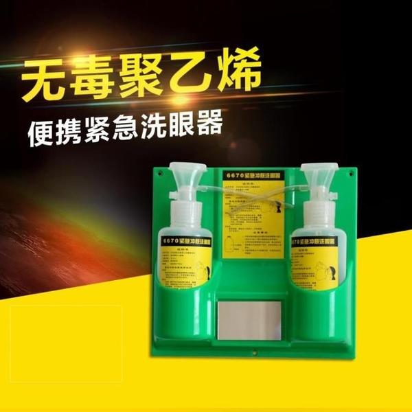洗眼器 6670驗廠緊急沖膚洗眼器塑料雙瓶實驗室壁掛便攜洗眼器便攜式簡易 装饰界