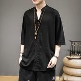 男士亞麻t恤男短袖中國風男裝寬鬆大碼半袖七分袖棉麻上衣服潮流