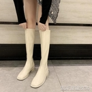 長靴長筒靴女秋冬方頭馬丁靴英倫風長靴不過膝騎士靴子顯瘦高筒靴 【快速出貨】