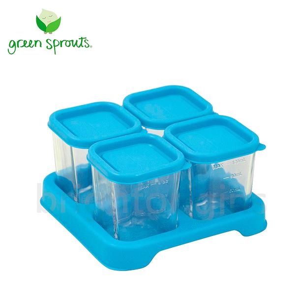Green Sprouts副食品小分裝盒120ml 一組4入(玻璃)-藍色