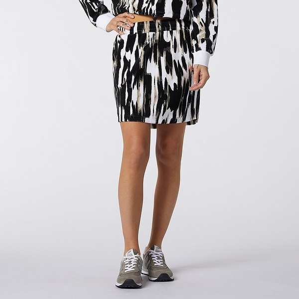 New Balance Athletics Collide 女裝 短裙 休閒 鬆緊帶 對比色LOGO 黑 白【運動世界】WK11503WHP