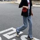 促銷九折 春季韓版復古開叉微喇褲高腰牛仔褲修身百搭顯瘦學生拖地褲長褲女