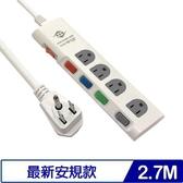 威電 CK3541-09 5開4插 90度平貼插頭電源延長線 9尺 2.7M