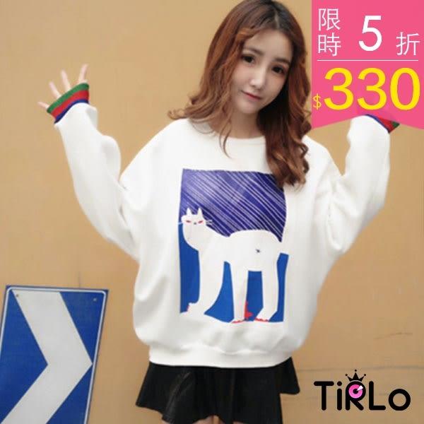 T袖-Tirlo-暗黑貓咪金蔥羅紋袖口內刷毛長袖T-兩色(現+追加預計5-7工作天出貨)