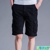男士中褲 夏季薄款工裝短褲男寬鬆五分褲大碼休閒中褲時尚多口袋馬褲潮