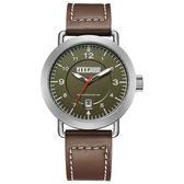 JEEP SPIRIT 暗夜潛行休閒皮帶錶-銀框綠x咖啡色