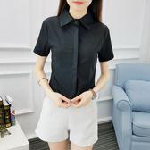 襯衫女黑色短袖雪紡百搭常規職業裝女裝工作服簡約修身學生上衣   瑪奇哈朵