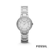 FOSSIL VIRGINIA 羅馬數字不鏽鋼女錶-銀色水鑽 30mm