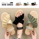[Here Shoes]2cm涼鞋 優雅氣質交叉海帶裙襬 布面平底圓頭兩穿涼拖鞋-AN031