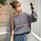 (全館一件免運)DE SHOP~(RT-7055)學生上衣寬鬆彩色條紋套頭長袖毛衣針織衫