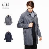 Formal 跳色條紋 簡約基本大衣-灰色【11129】