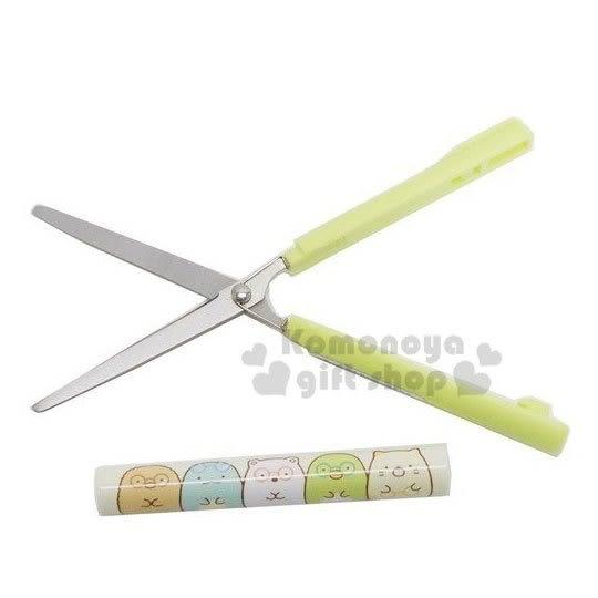 〔小禮堂〕角落生物 加長型筆型攜帶式剪刀《綠.抱鉛筆》事務剪.事務用品 4901770-58057