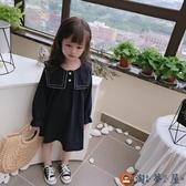 女童寶寶甜美長袖連身裙兒童洋裝花邊大翻領裙子【淘夢屋】