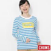 CHUMS 日本 女 LOGO 條紋長袖T恤 白/湖水藍 CH111208W026
