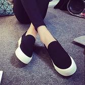 環球夏季帆布鞋女樂福鞋厚底學院低幫套腳一腳蹬白色休閒學生板鞋 QQ3410『MG大尺碼』