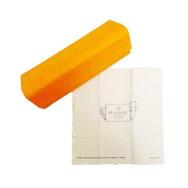 DISNEY小熊維尼合成皮革好攜帶三角眼鏡收納盒附拭鏡布(蜂蜜)★funbox★ KAMIO_KM02417