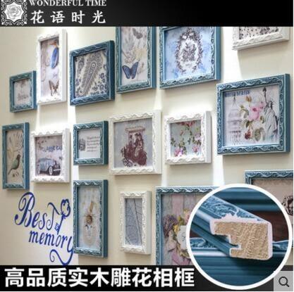 新貨到實木雕花掛牆相框牆飾客廳照片牆組合單框臥室相片牆DIY歐式相框10吋【單個】