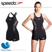 SPEEDO 女 運動兩截式平口泳裝 Fit 黑白 SD8117823503