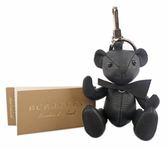 【BURBERRY】Thomas 泰迪熊皮革吊飾/Key圈(黑色) 8006461 A1189