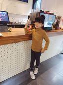 女童長袖內搭衣          兒童半高領加絨打底衫韓版男女童刺繡條紋T恤內搭厚上衣 宜室家居