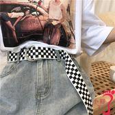 腰鍊 韓風chic經典款格子帆布皮帶學生簡約百搭牛仔褲帶bf雙環扣腰帶女
