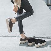 (尾牙交換禮物)創意 加絨鞋子女秋冬季新款韓版老爹運動厚底百搭休閒學生加棉板鞋