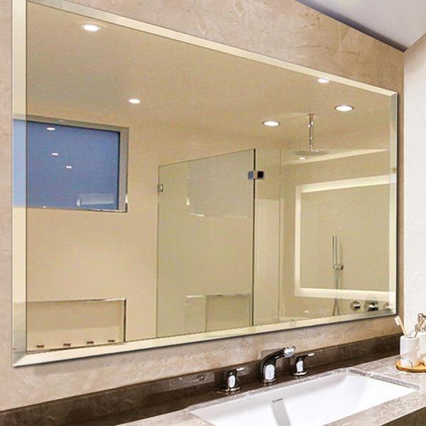 浴室鏡大廁所貼墻免打孔衛生間壁掛粘貼洗手間無框簡約玻璃鏡子