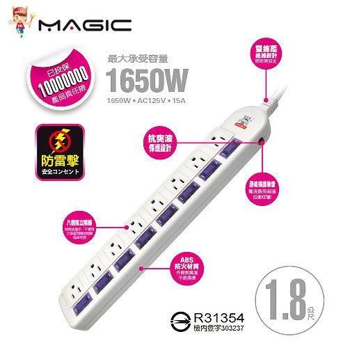 【台中平價鋪】全新 Magic鴻象 HSG808-6 八開八插 15A防雷擊延長線-1.8米
