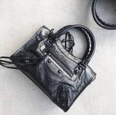 ■專櫃77折■Balenciaga  全新真品 黑釦 Mini City 羊皮迷你機車包黑色