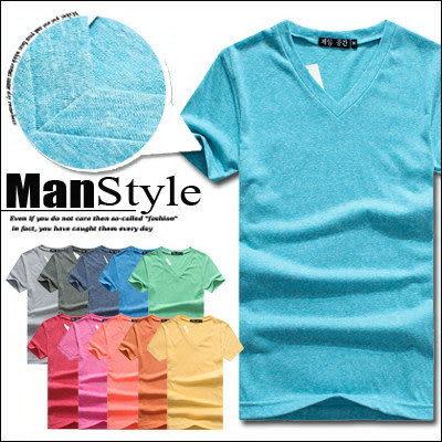 V領T恤ManStyle潮流嚴選糖果色針織素面V領短袖T恤男【01B6214】