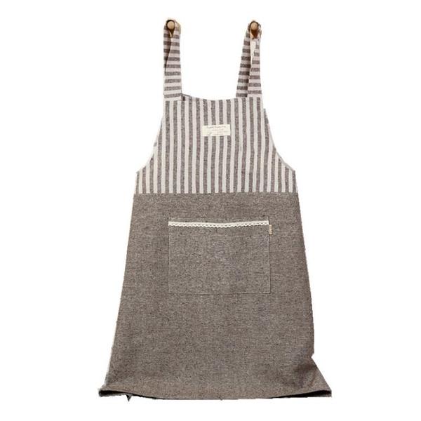日式棉麻家用廚房圍裙防油成人做飯罩衣工作服咖啡店服文藝圍裙