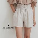 短褲 Space Picnic|花苞鬆緊綁帶短褲(現貨)【C21031114】