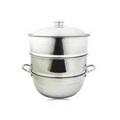 厚料304不銹鋼蒸籠組26cm湯鍋+二入蒸盤+上蓋-大廚師百貨