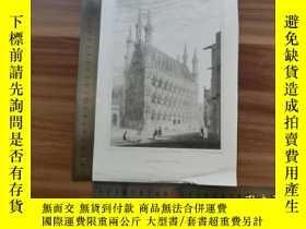 二手書博民逛書店【罕見】19世紀 銅 鋼版畫 單幅 TOWN HALL( 200
