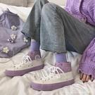 高筒鞋 高筒帆布鞋女潮流年春季ins潮學生ulzzang百搭韓版板鞋子 格蘭小舖