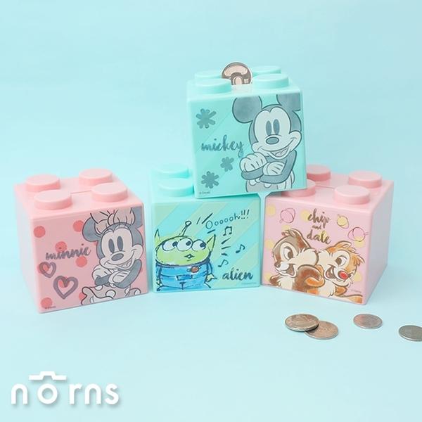 迪士尼積木造型存錢筒- Norns 正版授權 小熊維尼 奇奇蒂蒂 三眼怪 史迪奇 米奇米妮