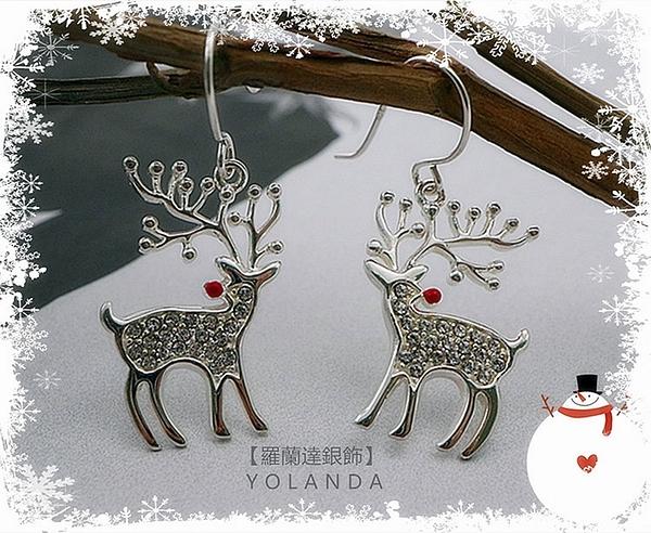 【羅蘭達銀飾】925純銀耳環。So cute~聖誕麋鹿造型。璀璨鋯石。耳勾式。