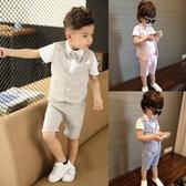 兒童小西裝套裝男童三件套正韓西服寶寶夏季小童英倫婚禮花童禮服【快速出貨】