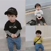 萌萌哒童裝帥氣寶寶秋裝兒童條紋袖假兩件T恤男童長袖打底衫上衣