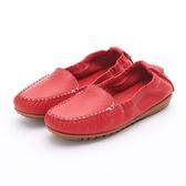MICHELLE PARK 輕時尚舒適彈力牛皮休閒平底鞋-紅