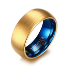 《 QBOX 》FASHION 飾品【RTCR-053】精緻個性歐美百搭拉絲金面紋路鎢鋼戒指/戒環