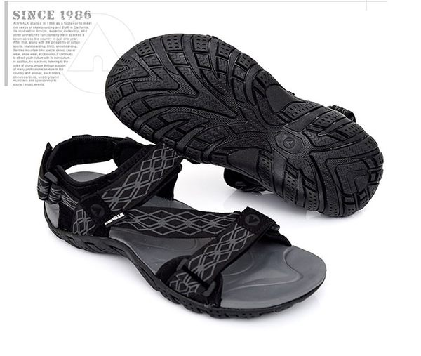【AIRWALK】菱格舒適運動涼鞋-黑灰
