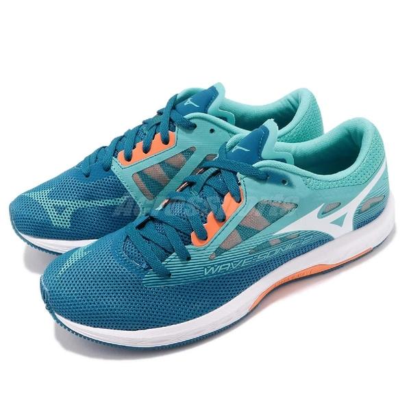 Mizuno 慢跑鞋 Wave Sonic 2 藍 橘 二代 輕量透氣 舒適緩震 美津濃 運動鞋 女鞋【ACS】 U1GD1935-01