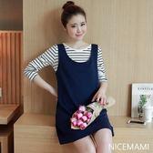 *初心*韓國 長袖 兩件式 條紋 棉T 背心裙 中大尺碼裝 中大尺碼洋裝 D0816XD