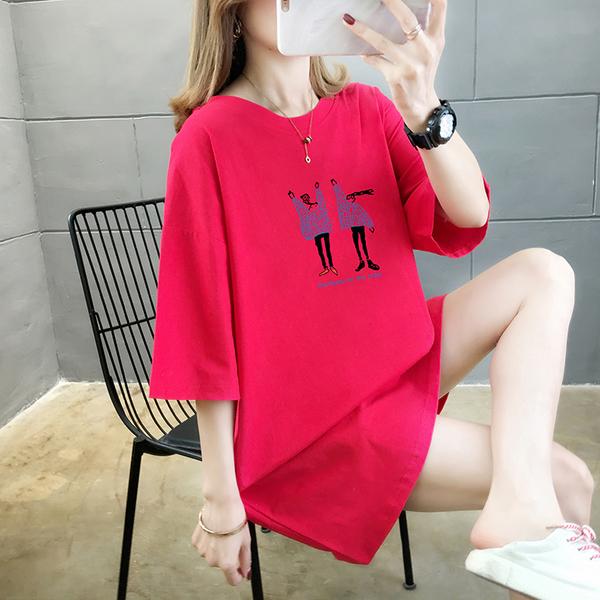 EASON SHOP(GW5388)實拍純棉線條小人物印花長版OVERSIZE短袖七分袖T恤裙連身裙落肩女上衣內搭棉T