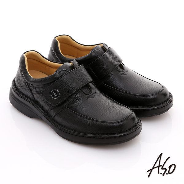 A.S.O 3E氣墊系列 全真皮寬楦素面魔鬼氈氣墊鞋 黑