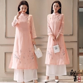 兩件套漢服文藝中式文藝復古繡花七分袖連身裙高開衩套加長褲子 降價兩天